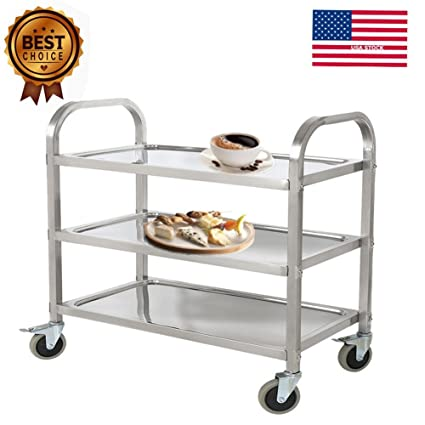 Ordinaire Aries 3 Tier Stainless Steel Commercial Kitchen Restaurant Heavy Duty  Utility Cart, Rolling Food