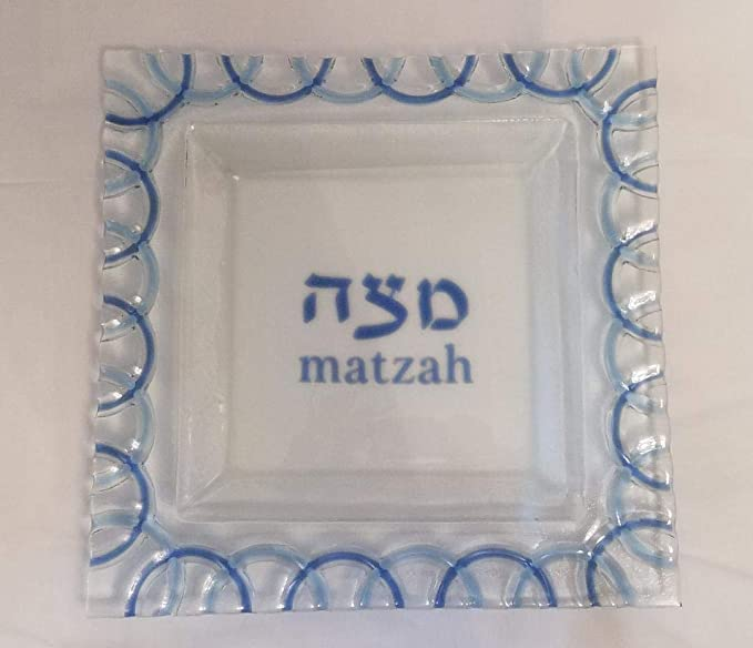 Pink and Orange Tulip Design Matzah Plate for Passover Square Matzah Tray for Pesach Seder Glass Matzah Tray for Seder Table 12 x 12