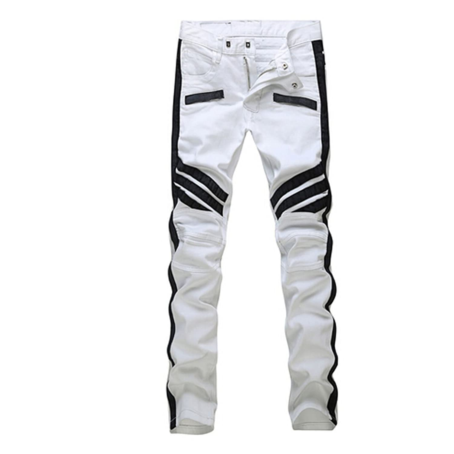 Krralinlin Men White Straight Distressed Ripped Denim Casual Pants