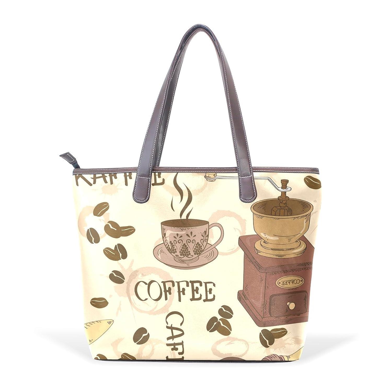Womens Leather Tote Bag,Cartoon Chocolate Coffee,Large Handbag