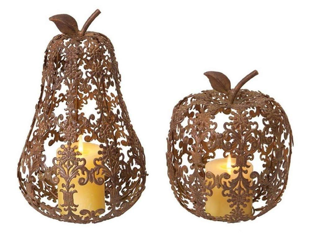 Set of 2 Fall Harvest Fleur-de-Lis Apple & Pear Thanksgiving Pillar Candle Holders 13'' - 31105312