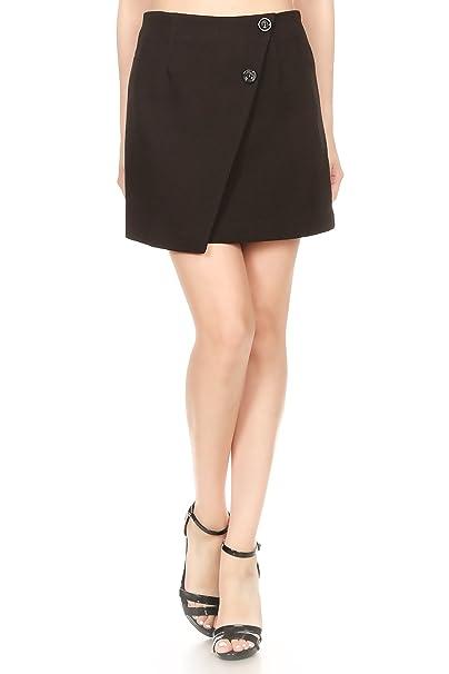 34704902522d Anna-Kaci Junior Womens Short Asymmetrical Tulip Hem Faux Wrap Black Mini  Skirt at Amazon Women's Clothing store: