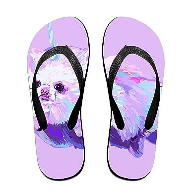 b184bcd76df7e Amazon.com  Couple Slipper Unicorn Dog Rainbow Print Flip Flops Unisex Chic  Sandals Rubber Non-Slip House Thong Slippers  Clothing