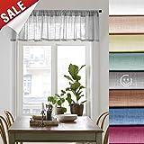 Linen Look Sheer Valance Bedroom 16 inch Length Valances Windows Rod Pocket Curtain Valance Grey Living Room, 1 Panel, Grey