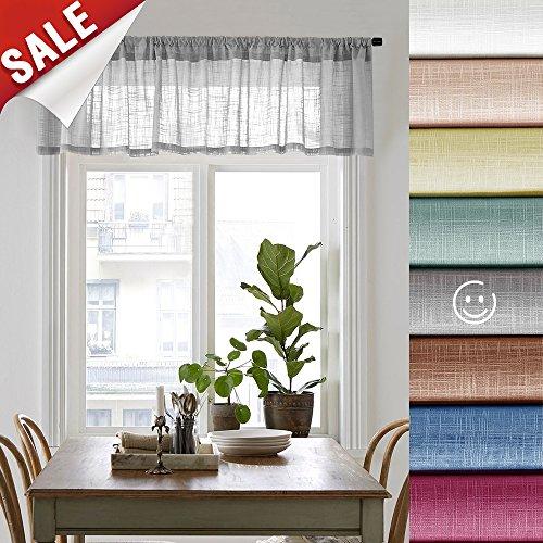 Linen Look Sheer Valance Bedroom 16 inch Length Valances Windows Rod Pocket Curtain Valance Grey Living Room, 1 Panel, Grey by jinchan (Image #7)'