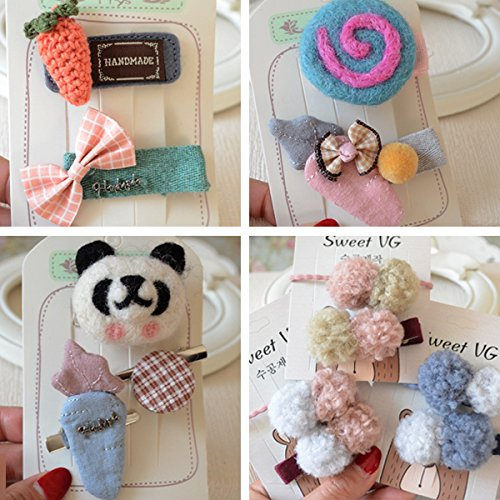 Korean children hair accessories lovely wool blankets panda coin crown bow brooch hairpin side clip set for women girl lady (Panda Wool)