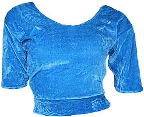 Trendofindia Azzurro Choli (parte alta del Sari) di velluto taglia S fino a 3X L ideale per danza del ventre