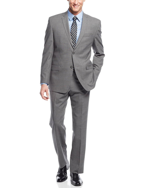 high-quality Marc New York Slim Fit Light Grey Plaid Wool Suit 36