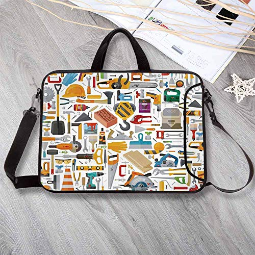 Construction Anti-Seismic Neoprene Laptop Bag,Construction Tools in Cartoon Style Engineering Fixing Repairing Building Laptop Bag for Travel Office School,17.3'L x 13'W x 0.8'H