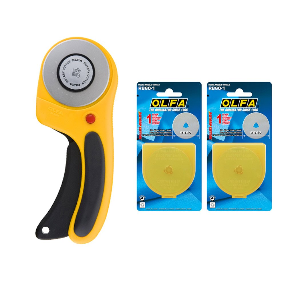 OLFA Rotary cutter RTY-3/DX 60mm Ergonomic Handle with Free 2 Rotary Blade by OLFA