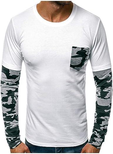 Hommes Slim Fit à Capuche T-shirt col rond à manches longues Pullover Casual Shirts