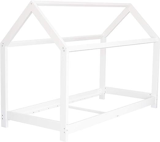 Puckdaddy Finn – Cama infantil de madera en color blanco con estructura de cama y somier enrollable, 200 x 90 cm, para niños de 3 a 16 años