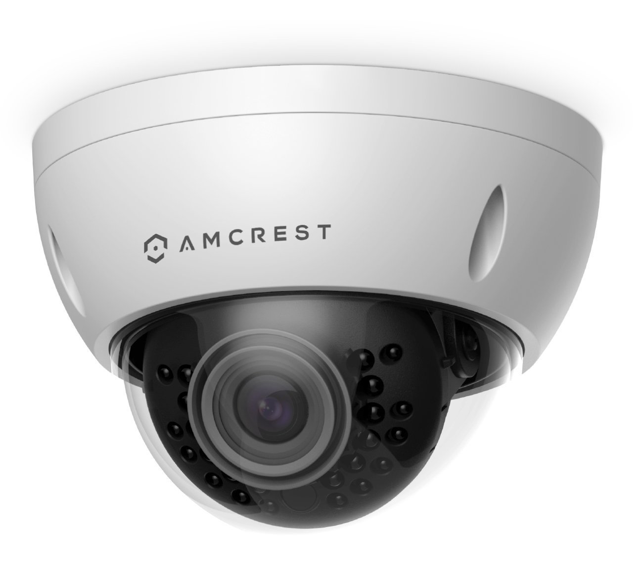 Amcrest ProHD Outdoor 3 Megapixel POE Vandal Dome IP Security Camera – IP67 Weatherproof, IK10 Vandal-Proof, 3MP 2048 TVL , IP3M-956E White