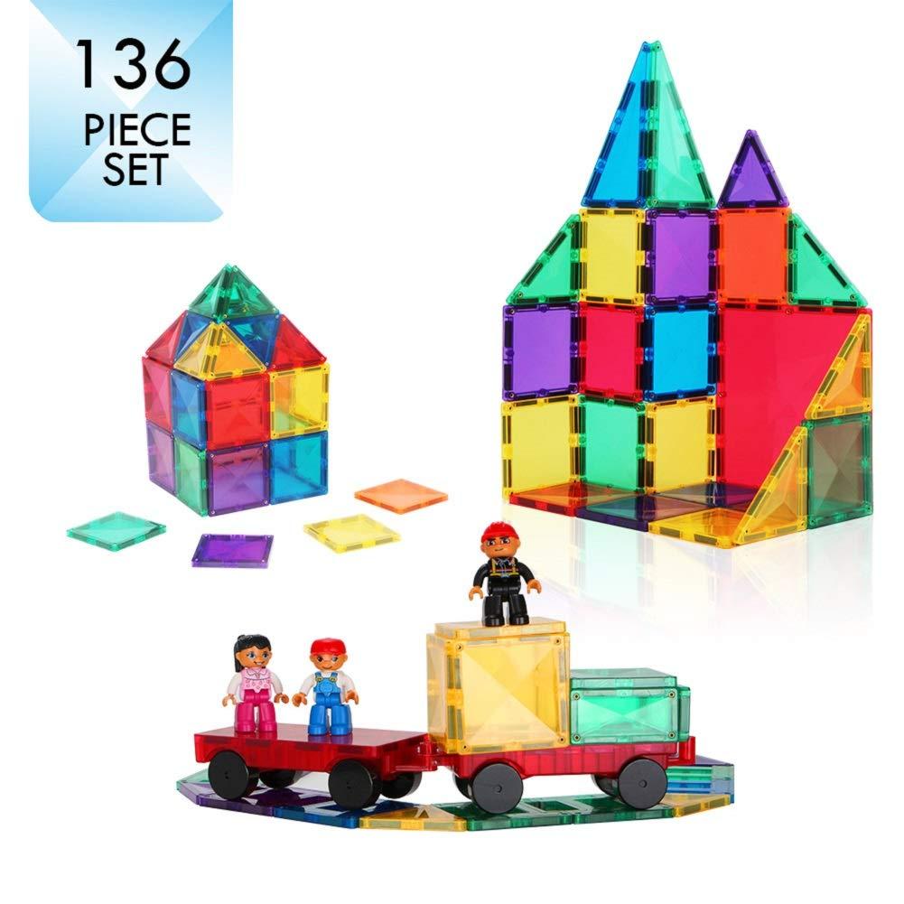 136Pcs STEM Magnetic Building Blocks for Kids Toddlers Education Construction Toys 3D Stacking Tiles Magnet Kit Large Set