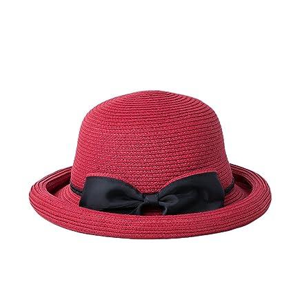 Cappello ZHIRONG Estivo Estivo da Donna Cappellino da Spiaggia Spiaggia  Casual Tesa Larga Beige Blu Rosso 6f789e85b5fb