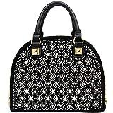 KAXIDY Ladies Shouler Bags Fashion Flower Handbag Tote Handbags (Black)