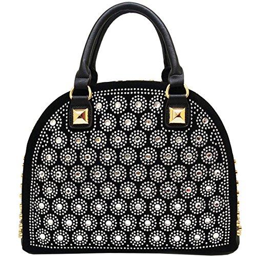 KAXIDY Ladies Shouler Bags Fashion Flower Handbag Tote Handbags (Black) by KAXIDY