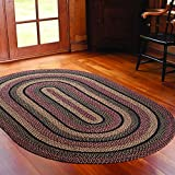 IHF Home Decor Country Style Oval Area Floor Carpet Braided Rug 27'' x 48'' New BLACKBERRY DESIGN Jute Fabric