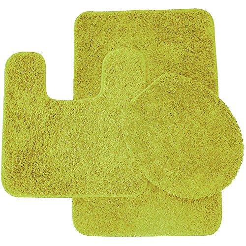 Sweet Home Collection 3 Piece Shag Bathroom Rug set Lime Bath Mat, Contour & Seat Cover,,Lime (Lime Green Bath Mat Set)