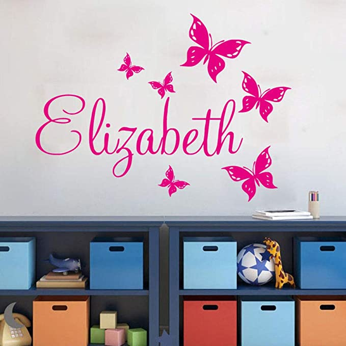 BailongXiao Nombre Personalizado decoración del hogar Chica Dormitorio Etiqueta de la Pared Mariposa Nombre Personalizado Etiqueta de la Pared 76X56cm: Amazon.es: Hogar