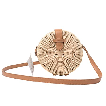 ef8df7cbf9ab08 Meaeo Women Bamboo Bag Rattan Female Beach Handbag Circle Vintage Straw  Crossbody Handmade Knitted Shoulder Bags: Amazon.co.uk: Luggage