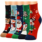 Roundeel Winter 5 Pairs Unisex Christmas Holiday Cozy Fuzzy Casual Socks