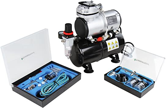 timbertech airbrush kit abpst06 powerful 1 6 hp airbrush compressor with 2 airbrush gun kits for airbrush painting makeup nail and tattoo studios