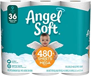 Angel Soft Toilet Paper, 36 Mega Rolls, 36 = 144 Regular Rolls, Bath Tissue, 4 Packs of 9 Rolls