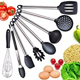 Cooking Utensil Set- 8 Best Kitchen Utensils- Silicone & Stainless Steel Kit - Serving Tongs, Spoon, Spatula Tools, Pasta Server, Ladle, Strainer, Whisk. Rice & Potato servers