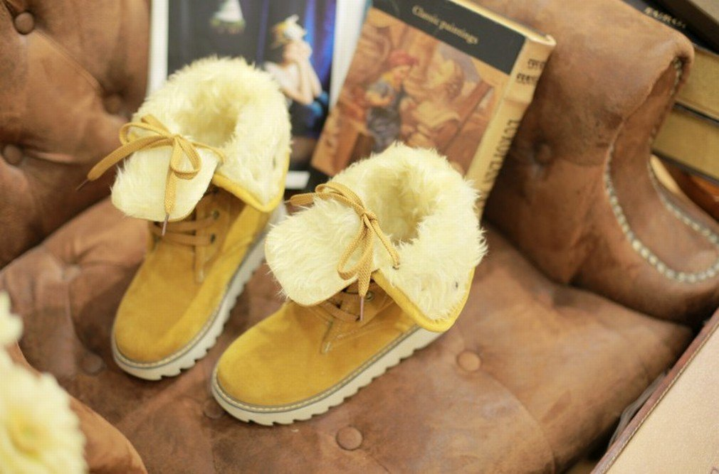ZH Botas de Mujer Botas de Felpa de Cuero de Tacón Bajo Botas de Nieve Zapatos de Mujer de Gran Tamaño,Amarillo,37 37