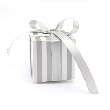 Amazon Gaka Candy Box Bulk 2x2x2 Inch With Ribbon Silver And