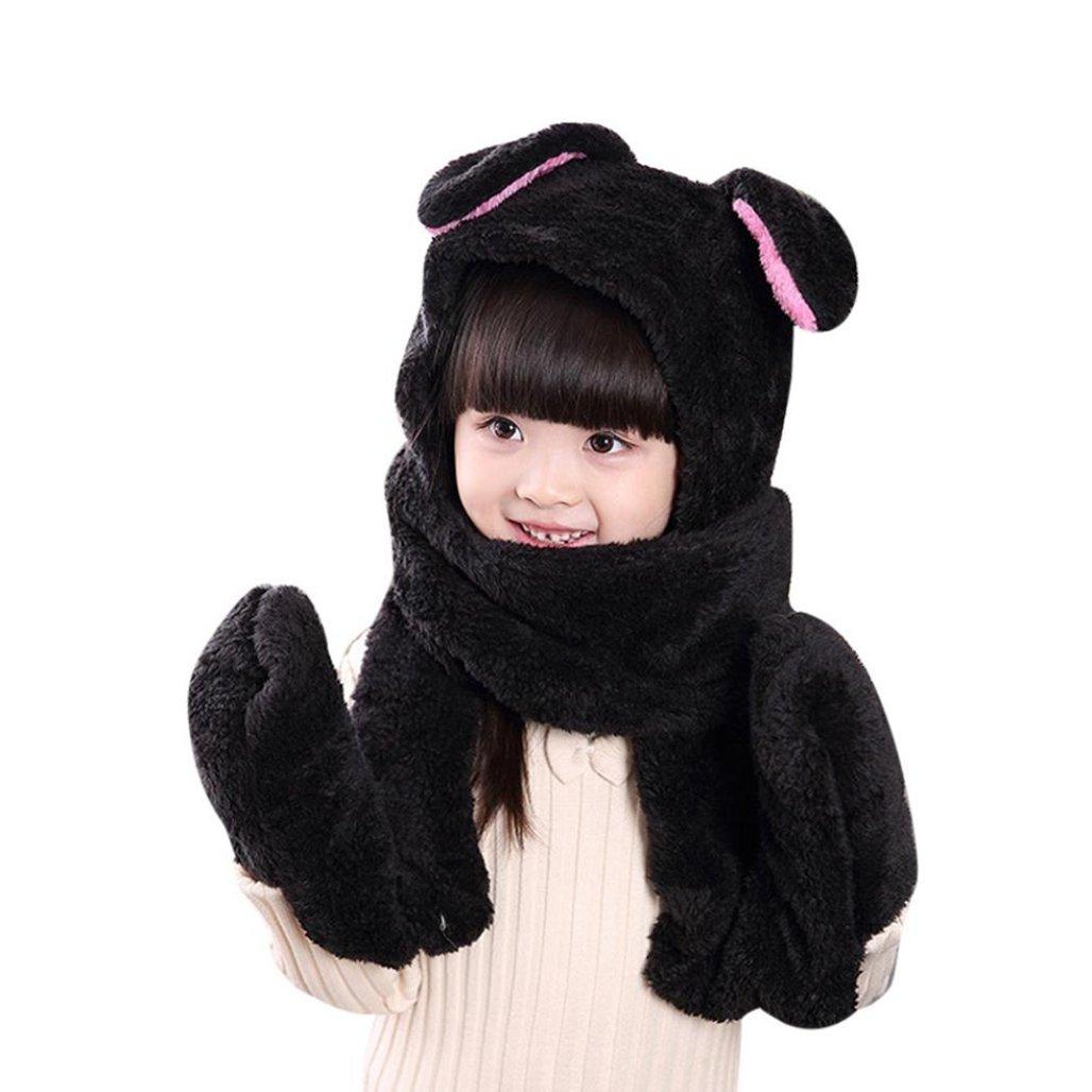 wawer bambini Inverno Cappello Sciarpa Guanti Cappello un pezzo vestito per 3 –  12 anni nero