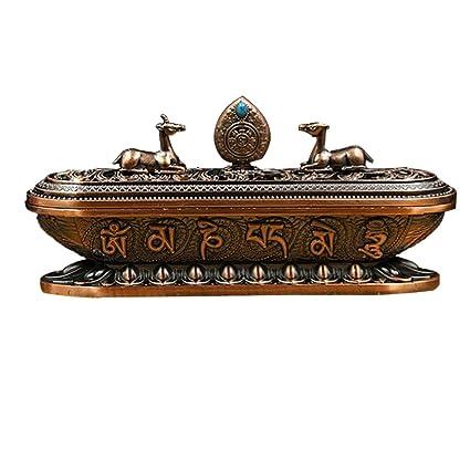 MagiDeal Tibetano Quemador de Incensario Estufa de Aroma de Metal Artesanía Decoración de Hogar Estudio Dormitorio