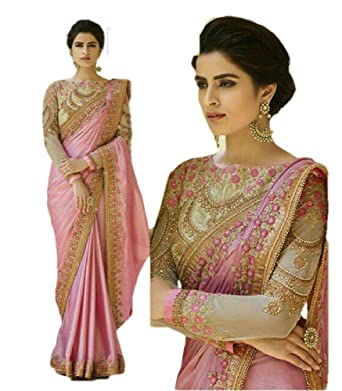 6b29b2e237 REKHA Ethnic Wear Indian Traditional Designer Saree with Embroidery Work  Party Wear Sari 07 at Amazon Women's Clothing store: