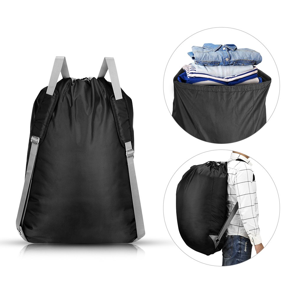 KHTD Laundry Bag 24'' x 32'' Inch, Large Laundry Backpack with Strong Adjustable Shoulder Straps for College Students Apartment Dorm-Room by KHTD (Image #3)