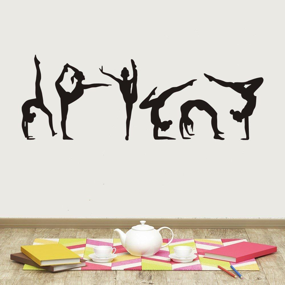 YOYOYU Six Dance Girls Gymnastics Wall Sticker Sport Vinyl Art Wall Mural Sticker For Home decoration Wall Papers (40x120cm)
