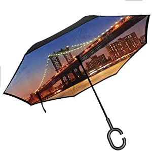 Double-layer Advertising New York,Manhattan Bridge with Night Lights over Hudson River Brooklyn Popular Town Image,Blue Orange Windproof Folding