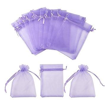 PandaHall – Set de 100 bolsas de regalo en organza, rectangulares, de color rojo vivo, 13 x 18 cm