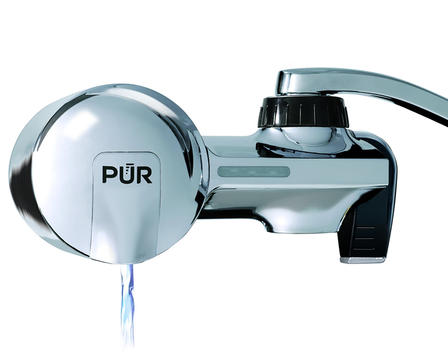 PUR Advanced Faucet Water Filter System with MineralClear Filter, Chrome, Horizontal, Indicator for Filter Status, Carbon Filter Lasts 3 Months (100 gal), Fits Standard Faucets, Easy Install, PFM400H by PUR