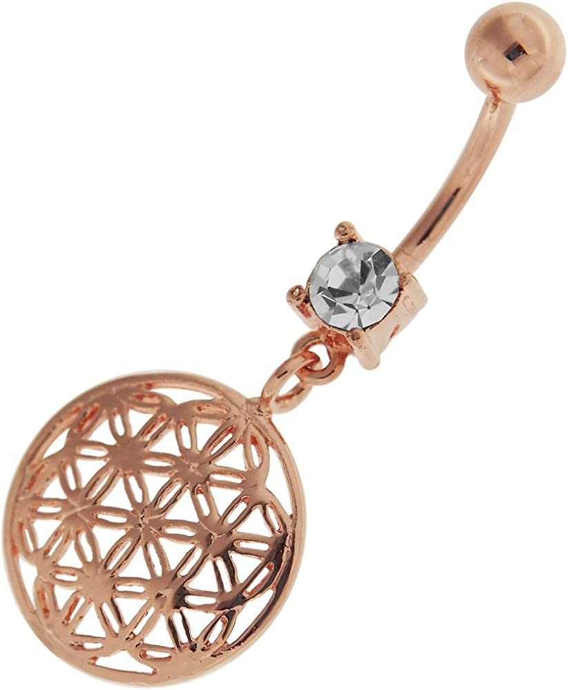 Rose Gold Plated Over Blue CZ Stone Flower 925 Sterling Silver with Stainless Steel Double Side Navel Button Ring