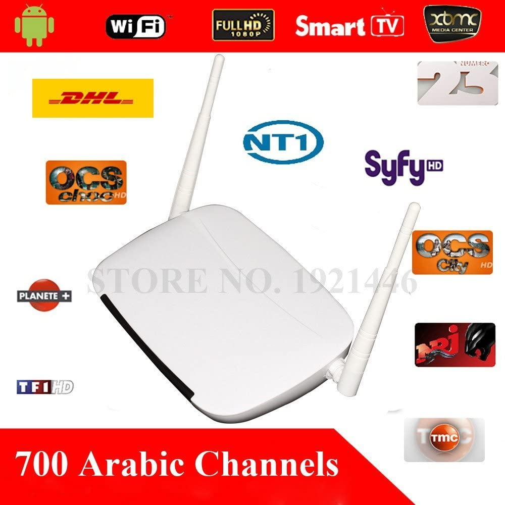 ARBUYSHOP libre QHDTV árabe IPTV Box 700 canales árabes de Taquilla Películas HD Sky Android 4.4 WiFi HDMI Smart TV Box en la acción rápida de DHL: Amazon.es: Electrónica