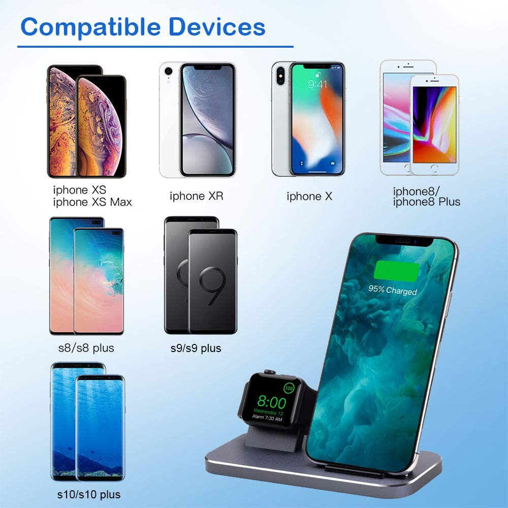 2 in 1 Aluminum Charging Station Compatible with iPhone 8//X//Xs//Xs Max//11//11 Pro//11 Pro Max and iWatch Series 5//4//3//2//1 BYUEE iPhone Wireless Charger and iWatch Stand