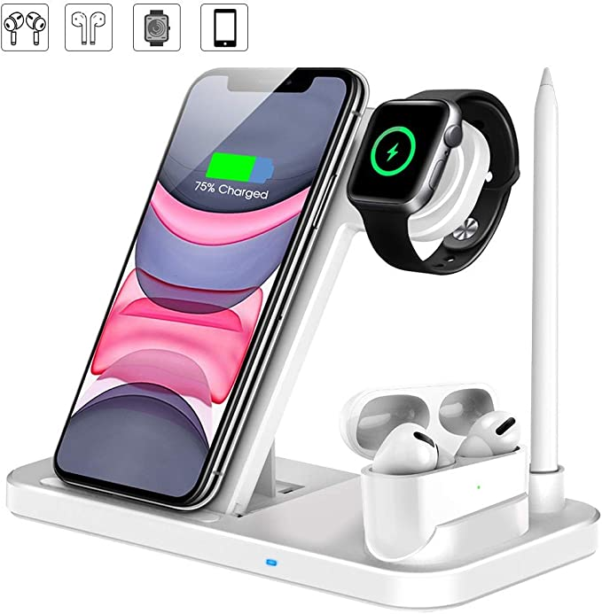 LESHI Wireless Charger, 4 in 1 Qi Certified 10W Fast Charger