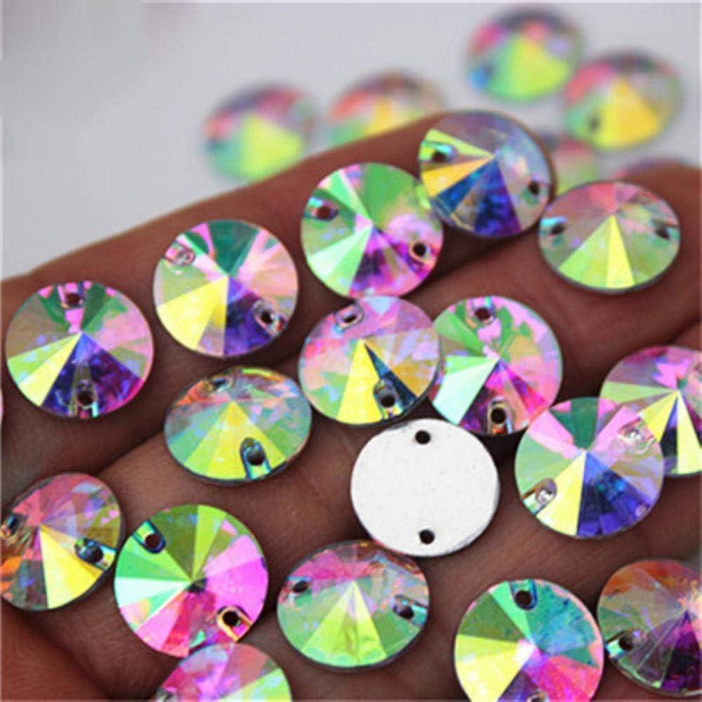 PENVEAT 100 Piezas 12 mm AB Color Redondo Coser en Resina Diamantes de imitación Piedras de Cristal Cosido de Espalda Plana para Bolsas de Ropa DIY decoración MC763, AB Claro