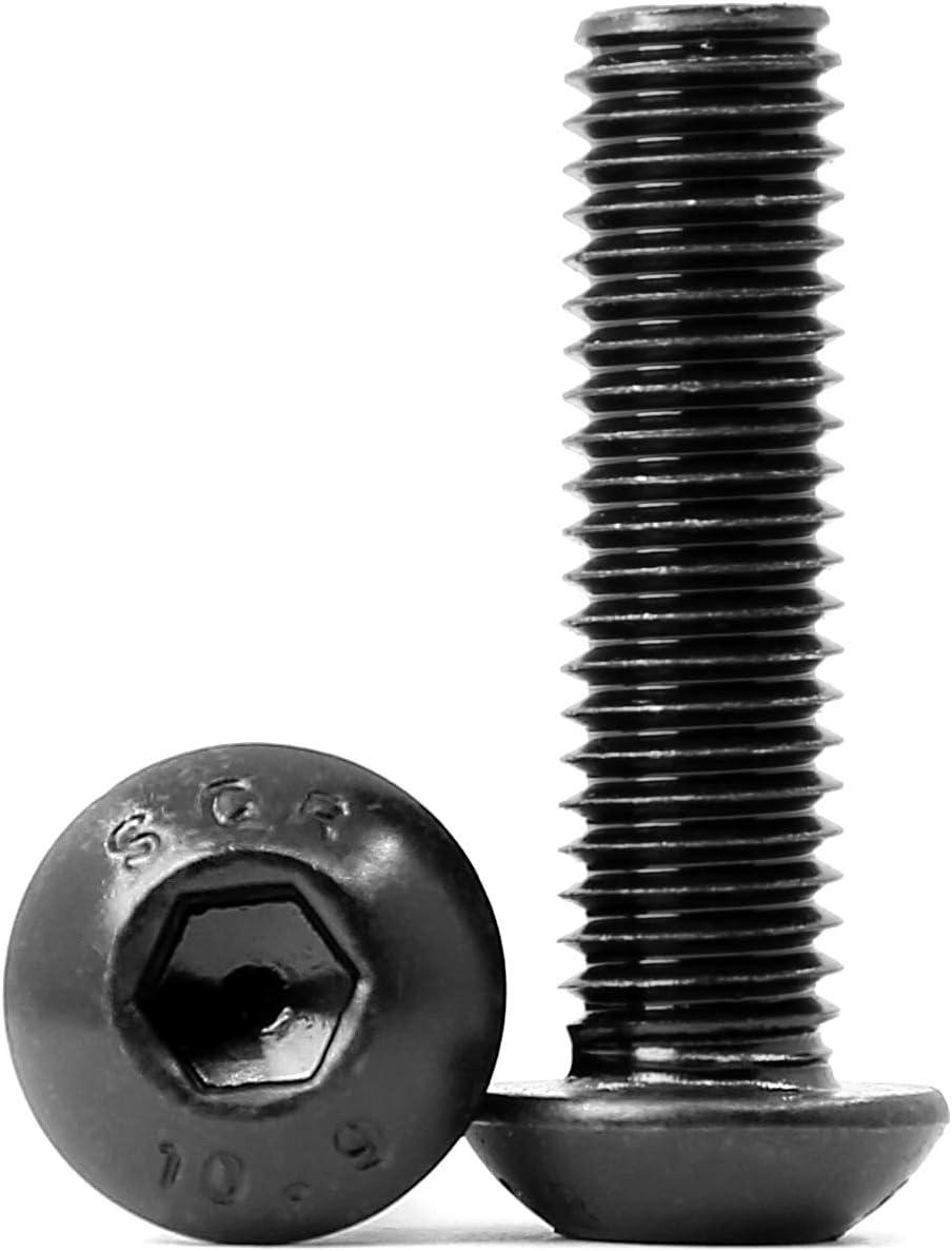 M8-1.25 x 45mm Button Head Socket Cap Screws, 10.9 Grade Alloy Steel, Allen Socket Drive, Black Oxide Finish, Full Thread, Quantity 10