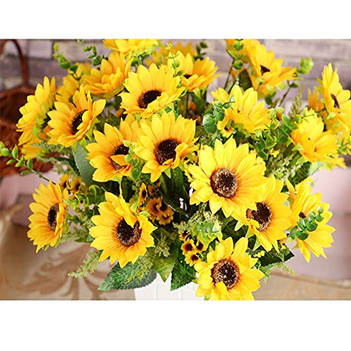 AmyHomie Artificial Sunflower Bouquet, 7 Flowers Per Bunch, 2 Bunches Per (Fake Sunflowers In Bulk)