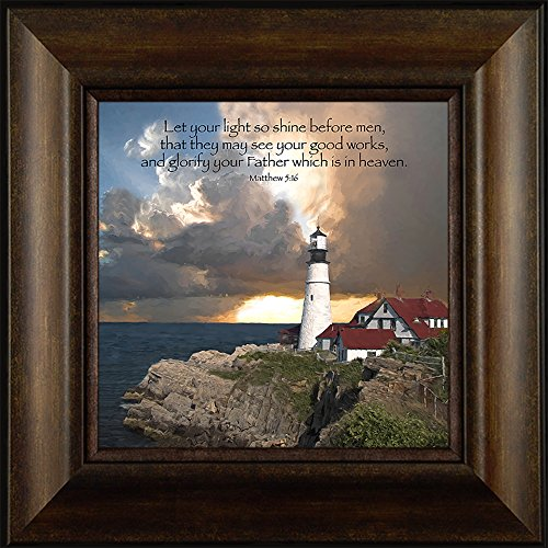 Good Works By Todd Thunstedt 20x20 Matthew 5:16 Portland Head Lighthouse Sunrise Light Risen Sunset Water Church Religious Bible Verse Quote Saying Jesus Christ Framed Art Print Wall Décor Picture