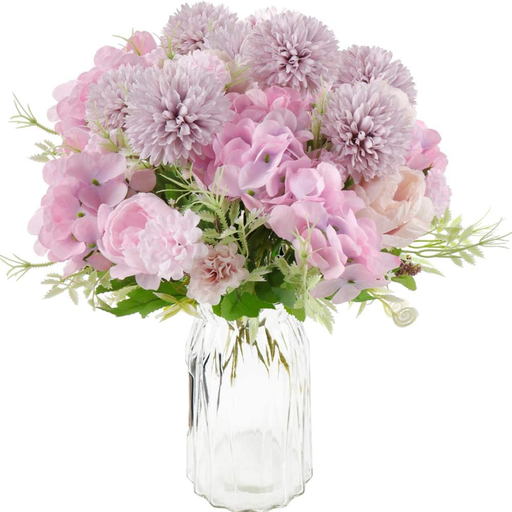 Beferr Artificial Flowers Bouquets Fake Peony Silk Hydrangea Chrysanthemum Ball Realistic Flower Arrangements for Wedding Decor Table Centerpieces Pack of 4 (Purple)