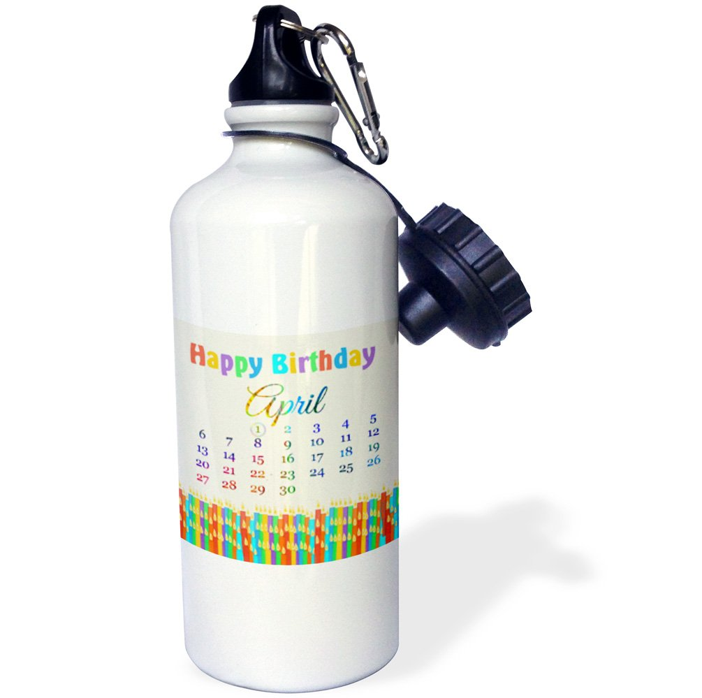 21oz Colorful Birthday Candles with Flames-Sports Water Bottle wb/_181375/_1 Multicolored 3dRose April 1st