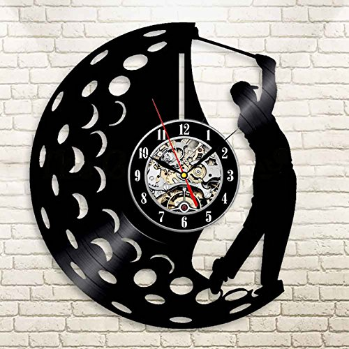 (VinylWorkshop Golfer Golf Vinyl Wall Clock 12 in(30cm) Black Decor Modern Decorative Vinyl Record Wall Clock This Clock Is A Unique Gift To Your Friends And Family For Any Occasion)
